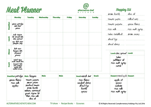 Alternative Chef Kitchen Meal Planner example